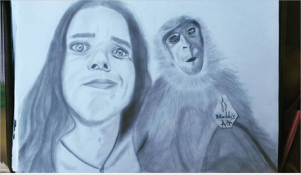 Monkey & Women Funny Pencil Drawing