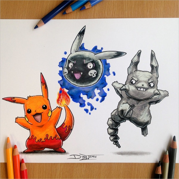 Pikachu New Type Pencil Drawing