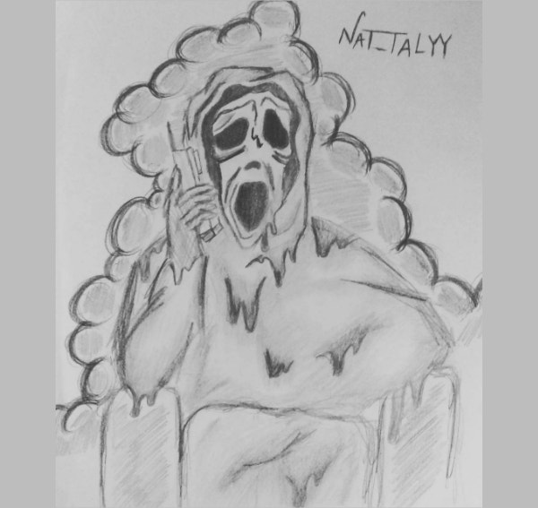 Funny Scream Pencil Drawing