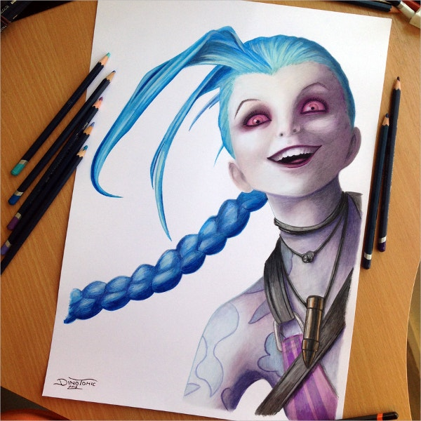 jinx color pencil drawing
