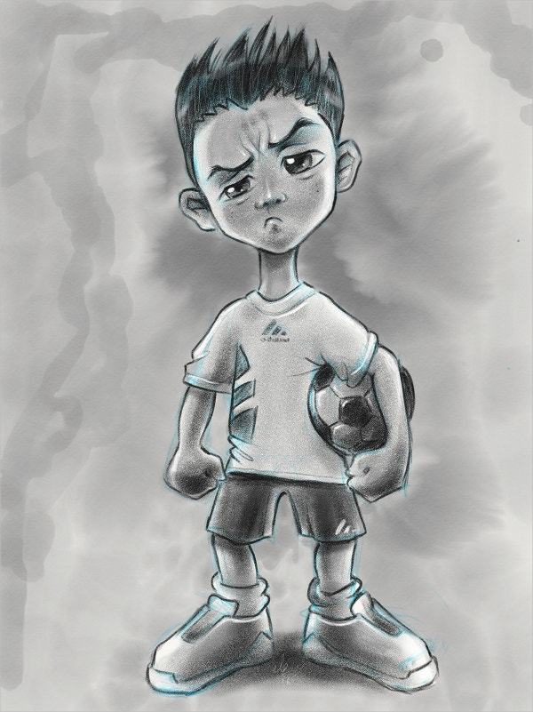 Soccer Boy Pencil Drawing
