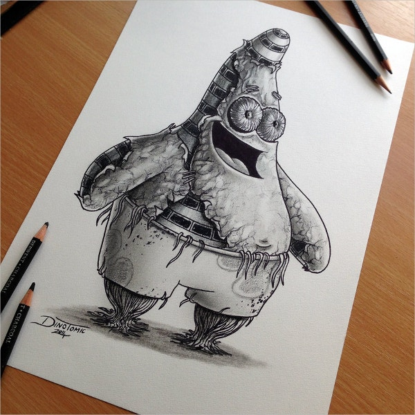 patrick star pencil drawing