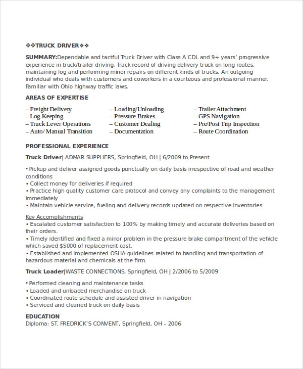 Driver Resume Template - 8+ Free Word, PDF Document Downloads | Free ...