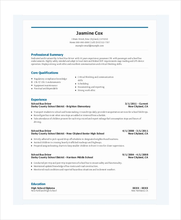 Driver Resume Template 6 Free Word PDF Document Downloads – Resume for Driver