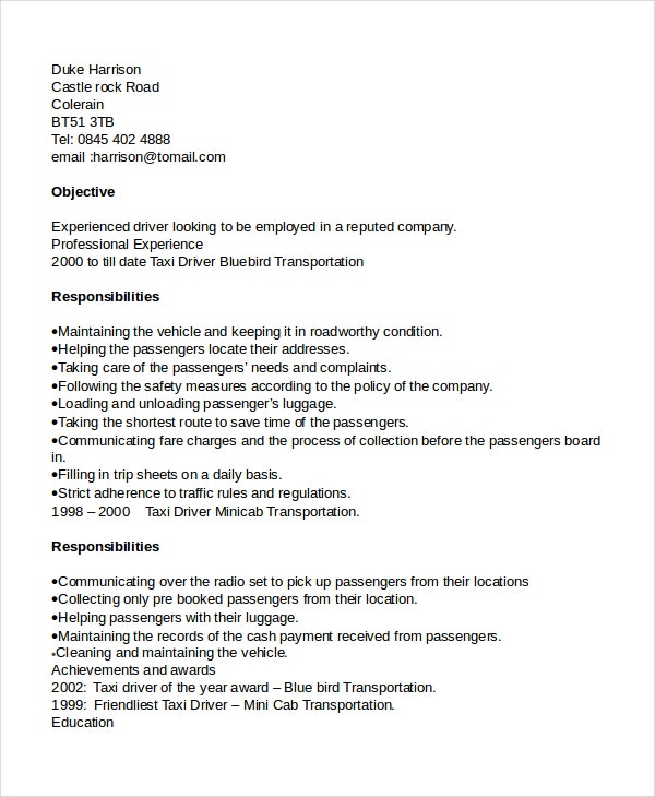 taxi driver template warehouse forklift operator resume sample