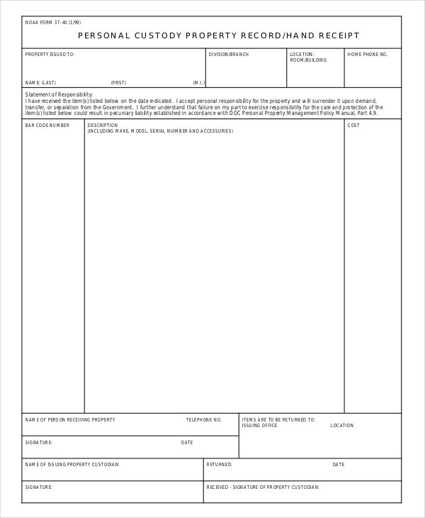 personal-custody-receipt-template