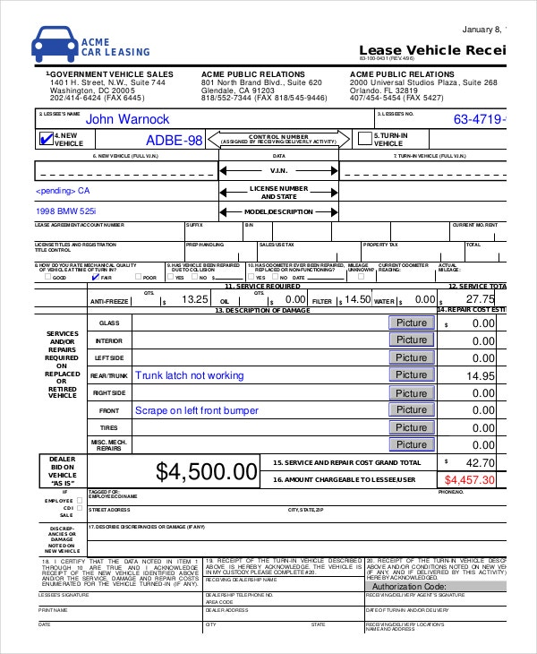lease-vehicle-receipt-template