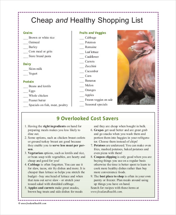 cheap and healthy shopping list