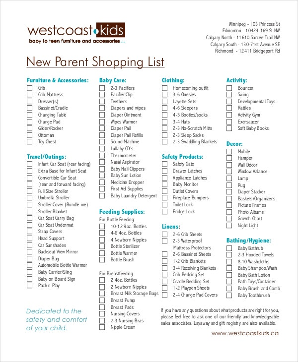 new parent shopping list