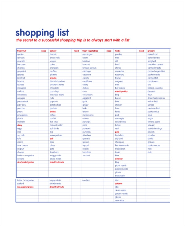 Shopping Lists Template Free Printable Grocery List And Shopping