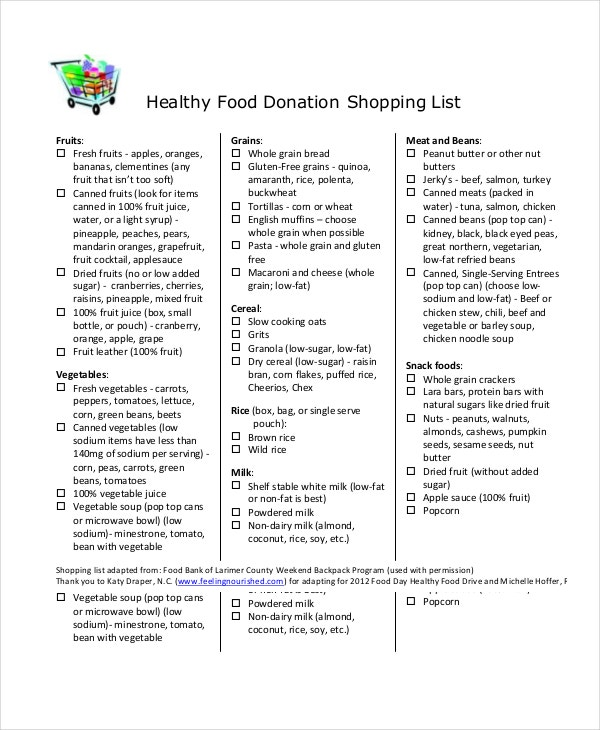 healthy-food-donation-shopping-list