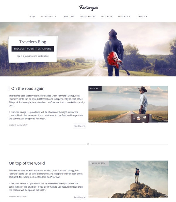 Modern One Column WordPress Theme