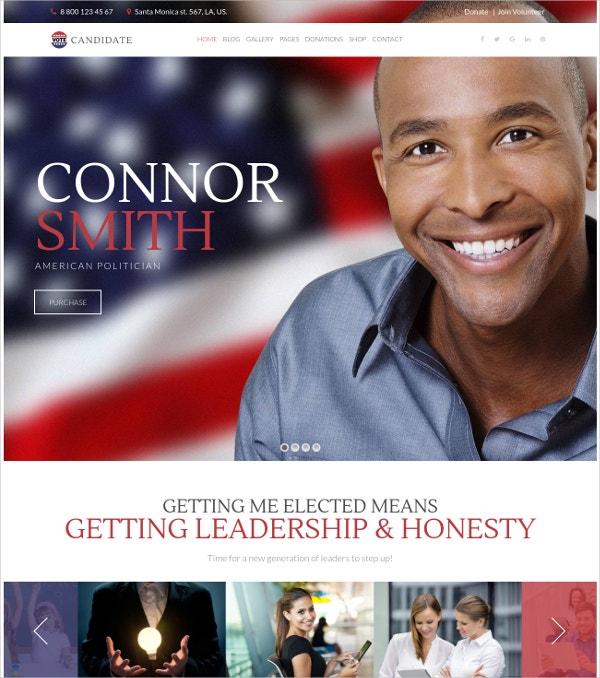Campaign Politics WordPress Website Theme $54