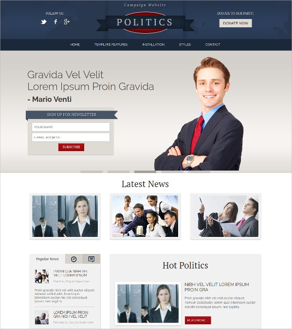 Political Parties Campaign Joomla Website Template