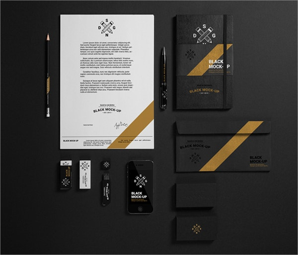 BLACK Mock Up of Stationery