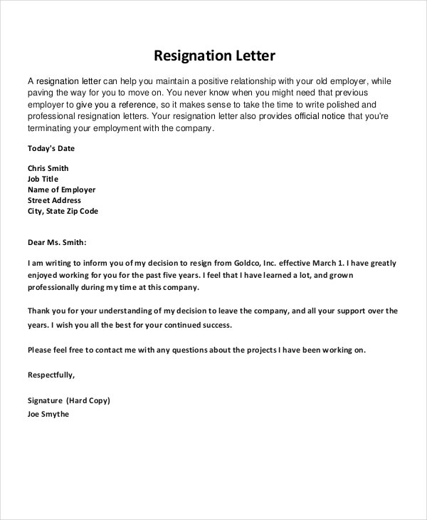 Resignation Letter Sample Sample Resignation Letter Basic Job