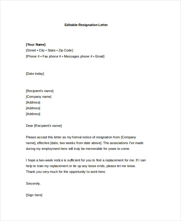 editable formal resignation letter