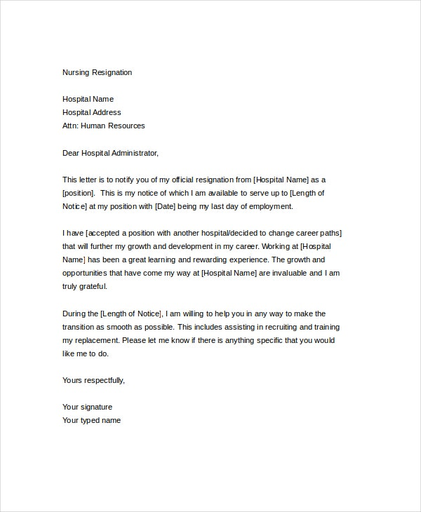 Resignation Letter 15 Free Word PDF Documents Download – Nursing Resignation Letter