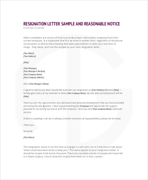 reasonable notice resignation letter