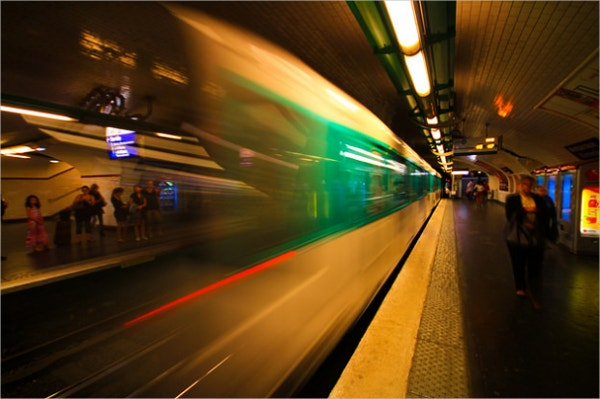Paris Metro Blurred Photography with Beautiful Lighting