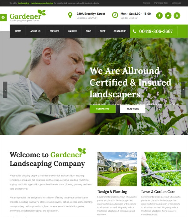 Garden & Landscaping WordPress Theme $59