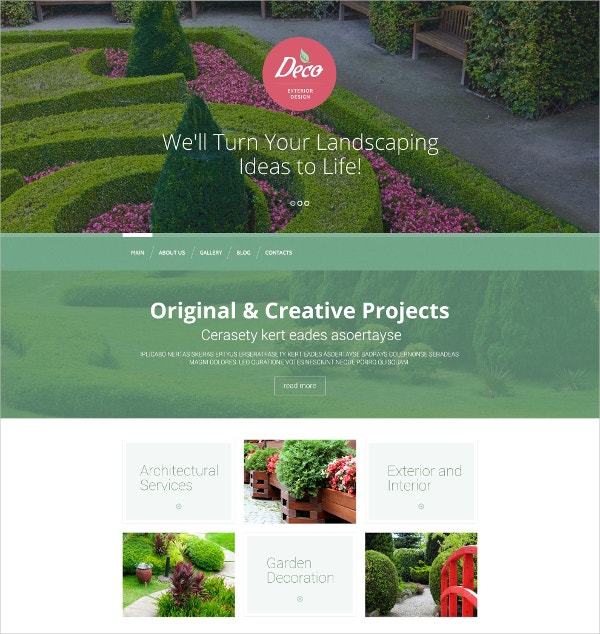 Design Landscaping WordPress Theme $75