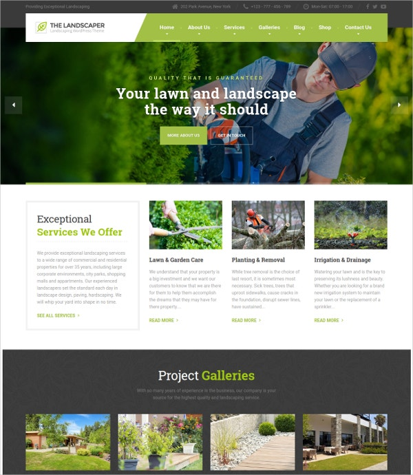 Landscaping & Lawn Services WP Theme $59
