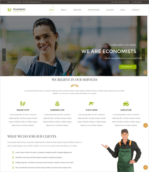 Agriculture & Landscaping WordPress Theme $59