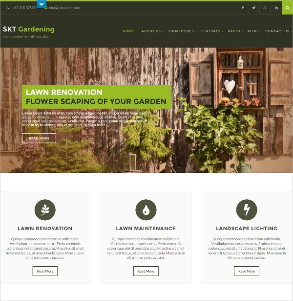 Simple Gardening & Landscaping WordPress Theme $48