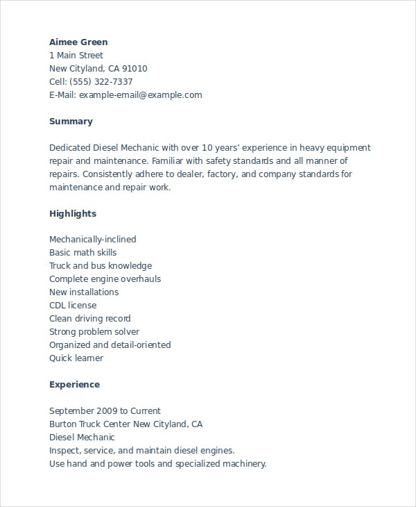 diesel mechanic resume - Mechanic Resume Template