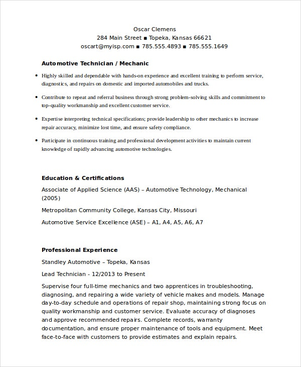 auto mechanic resume - Automotive Technician Resume
