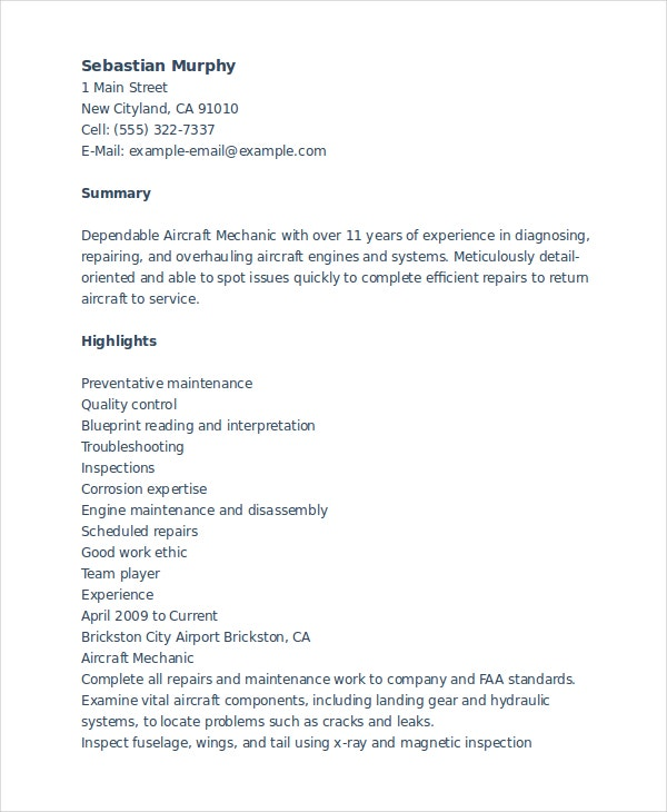 aircraft mechanic resume - Mechanic Resume Template