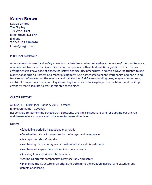 Aviation Mechanic Resume  Mechanic Resume Template