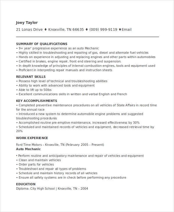 Auto Mechanic Resume Template