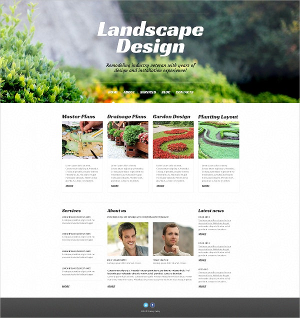 Landscape Blog WordPress Theme $75
