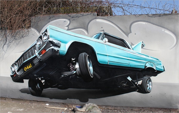 Car Retro Street Art Design