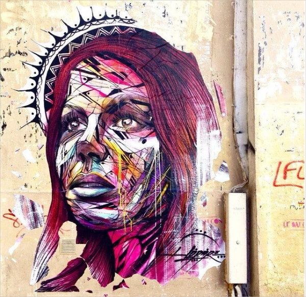 women face retro street art