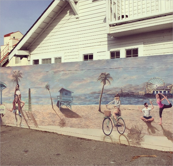 Beach Scene Retro Street Art