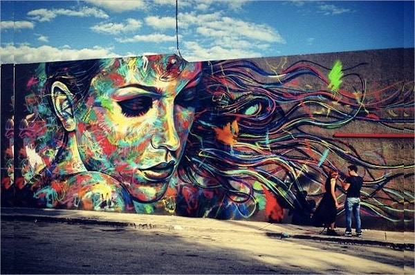 color beauty on wall retro street art