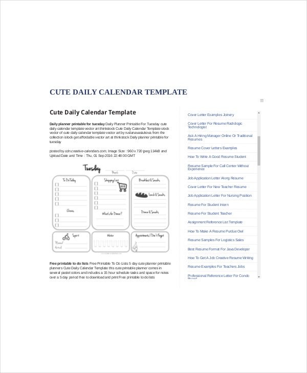 Cute Daily Planner Template   Free Word Documents Download  Free
