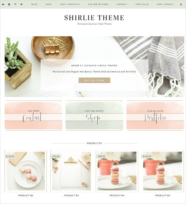 eCommerce Feminine Genesis Child WordPress Theme $65