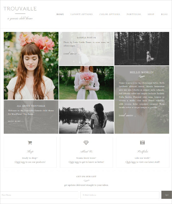 Feminine Genesis Child WordPress Theme $50
