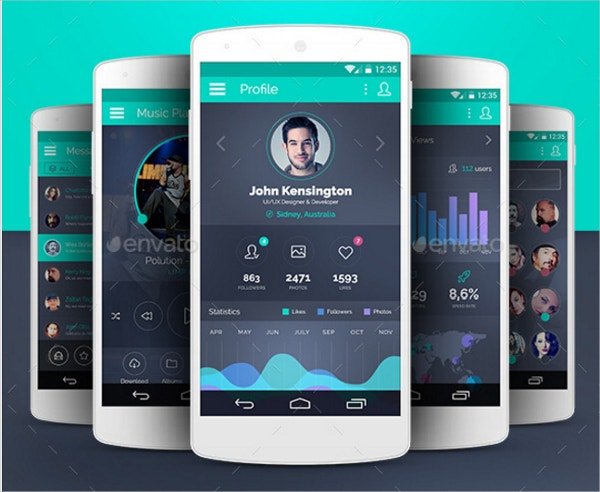SpiritApp Flat Mobile Design UI Kit