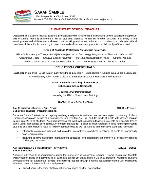 Example Of Teacher Resume Elementary School Teacher Resume Template