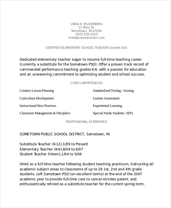 Awesome Veteran Elementary Teacher Resume