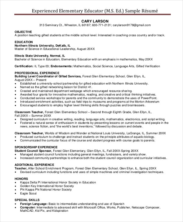 Experienced Elementary Teacher Resume  Sample Elementary Teacher Resume