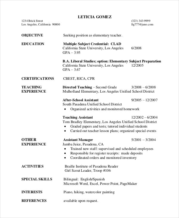 First Year Elementary Teacher Resume  Sample Elementary Teacher Resume