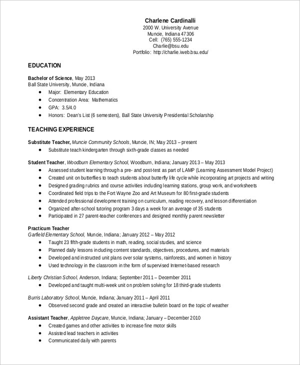Sample Teacher Resume Template  Sample Elementary Teacher Resume