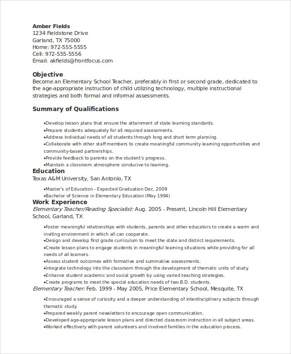 Elementary School Teacher Sample Resume  Sample Elementary Teacher Resume