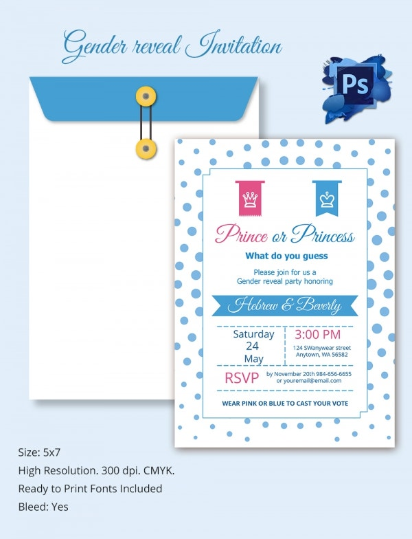 Freebie of the Day - Gender Reveal Invitation Template